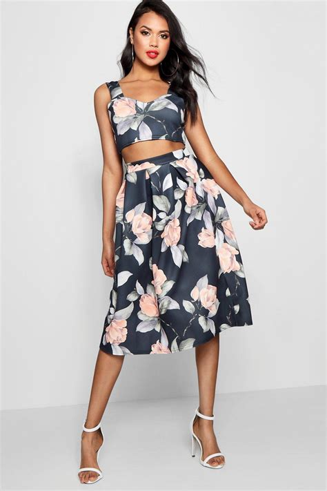 Top Set crop top midi skirt co ord set at boohoo