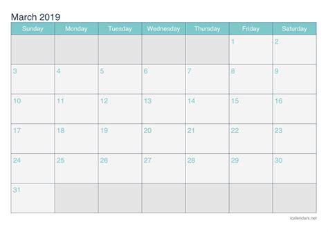 march  printable calendar icalendarsnet