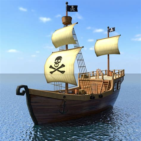 boat cartoon pirate low poly cartoon pirate ship 3d model