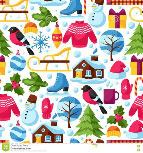 Beautiful Christmas Postcard Design #5: Seamless-pattern-winter-objects-merry-christmas-happy-new-year-holiday-items-symbols-76006763.jpg