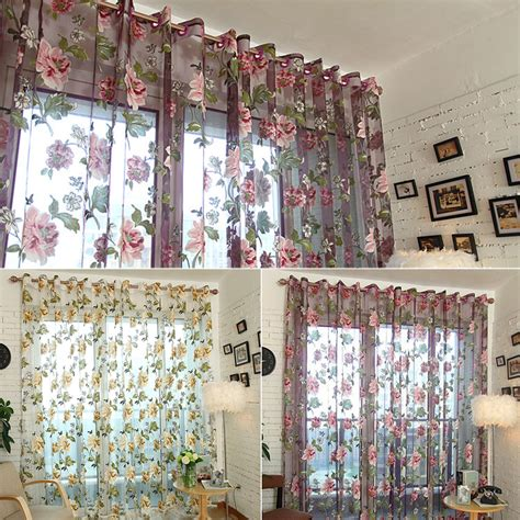 Large Window Curtains Large Purple Curtains Peony Beige Bedroom Living Room Bay Window Curtain Thin Slight Pervious To
