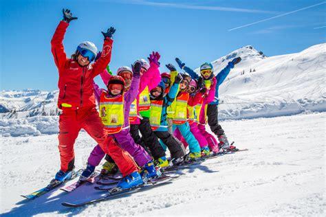 Ski School School children ski course beginner on ski childrens ski