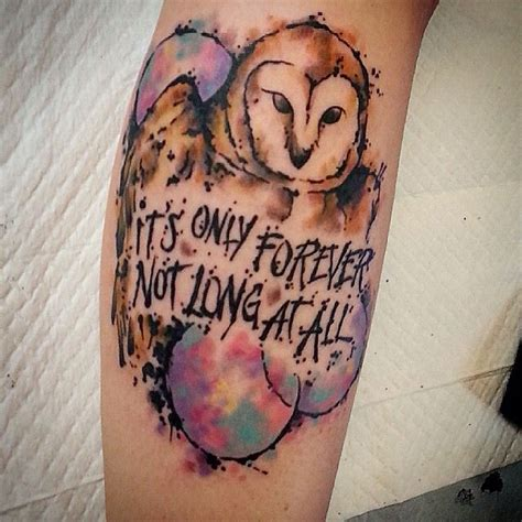 watercolor tattoo long term it s only forever not at all labyrinth owl
