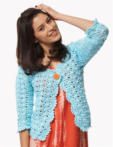 crochet cardigan pattern free pinterest bernat on the lace cardigan crochet pattern yarnspirations