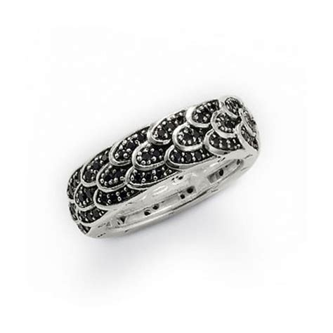 sabo silver and black cubic zirconia wing