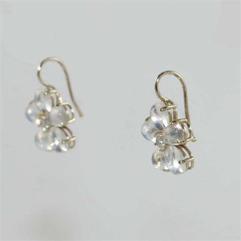 flower design diamond earrings moonstone diamond white gold flower design drop earrings