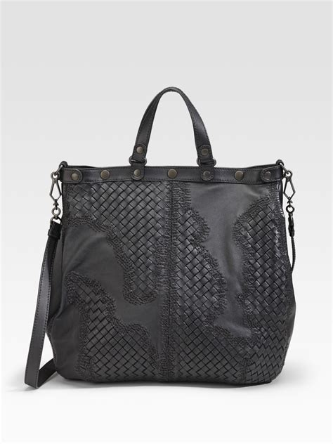 Bottega Veneta Deerskin Woven Tote by Bottega Veneta Large Woven Accent Tote In Black Nero Lyst
