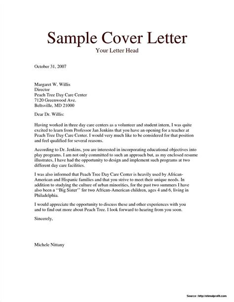 cover letter for child caregiver cover letter resume