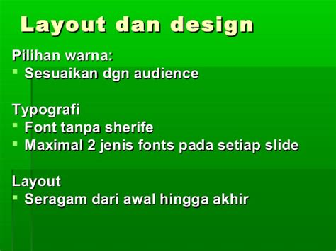 jenis layout presentasi teknik presentasi