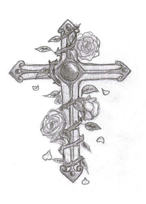 cross with roses tattoo designs flowers and cross design