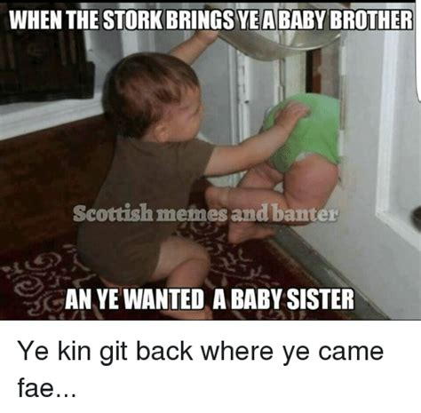 Scottish Memes - when the stork bringsye ababy brother scottish memes and