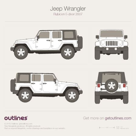 jeep wrangler front drawing 2007 jeep wrangler drawings outlines