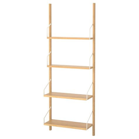 Wall Hung Shelves Svaln 196 S Wall Mounted Shelf Combination Bamboo 66x25x176 Cm