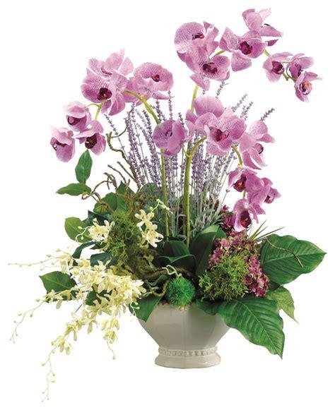 lifelike orchid arrangement in white ceramic bowl