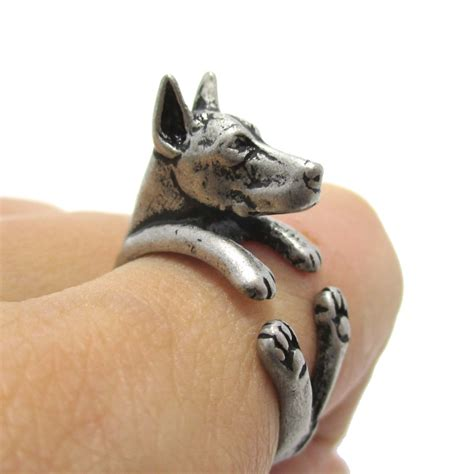 puppy ring 3d doberman puppy animal wrap ring in silver sizes 5 to 9 183 dotoly animal