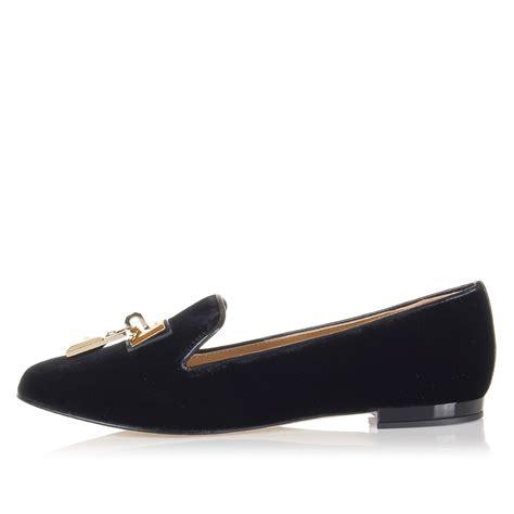 velvet flat shoes dsquared2 velvet flat shoes with padlock application