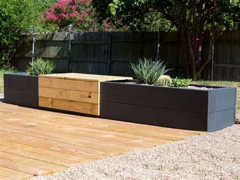 benches with planters make a modern planter and bench combo hgtv