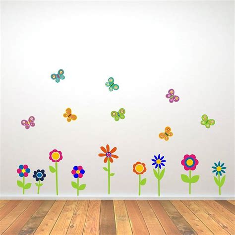 flowers and butterflies wall stickers by mirrorin notonthehighstreet