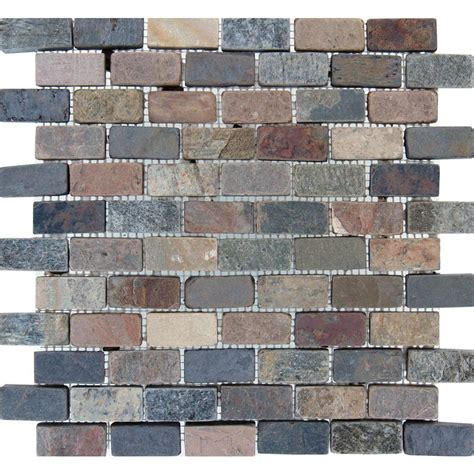 mixed brick 12 in x 12 in x 10 mm tumbled slate mesh