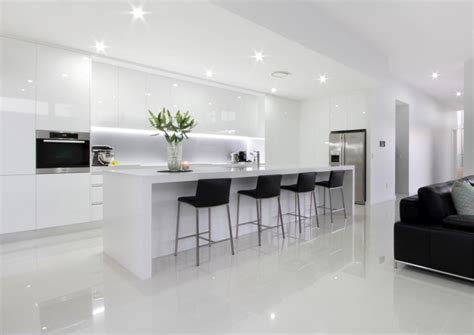 Kitchen Bench And Cupboards White Modern Kitchen With Island Bench And Stools