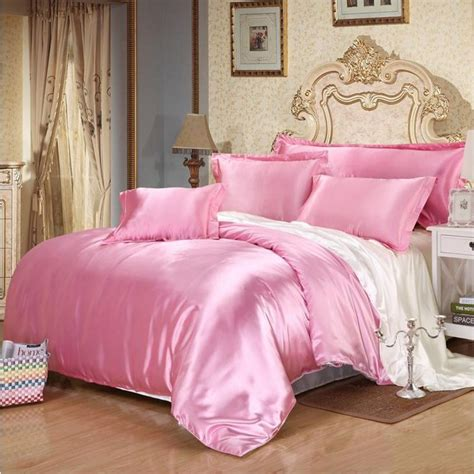 satin bed comforter pink white imitated silk bedding sets queen twin 4pcs