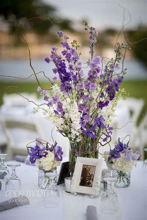 Purple Lavender and White Centerpiece: Mason jars of white