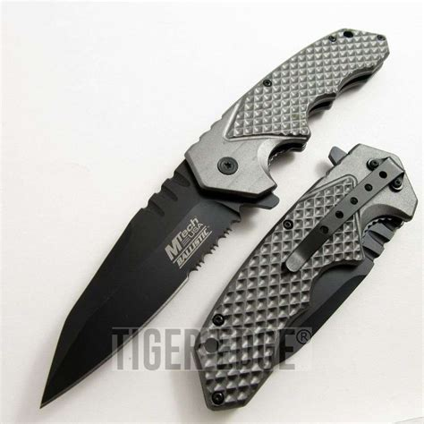 modern knives mtech ballistic spring assist modern grey folding knife