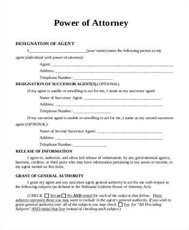 business power of attorney template sle power of attorney forms 8 free documents in pdf