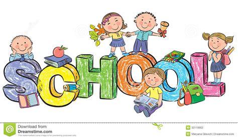 clipart bambini a scuola scuola di parola e bambini divertenti illustrazione