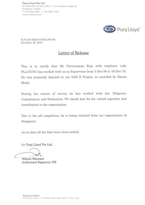 Release From Lease Agreement Letter Pll Letter Of Release