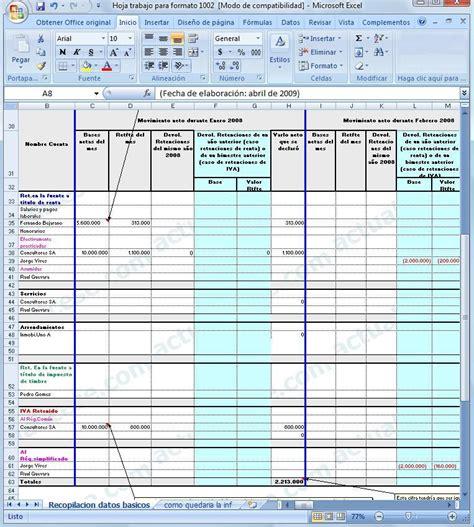 excel plantilla para elaborar el borrador con anexos de las formato 1002 modelos y formatos