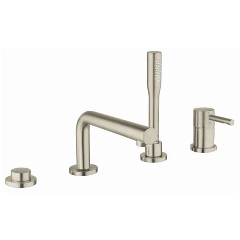 shop grohe geneva brushed nickel 2 handle adjustable deck mount bathtub faucet at lowes com shop grohe essence brushed nickel 1 handle adjustable deck