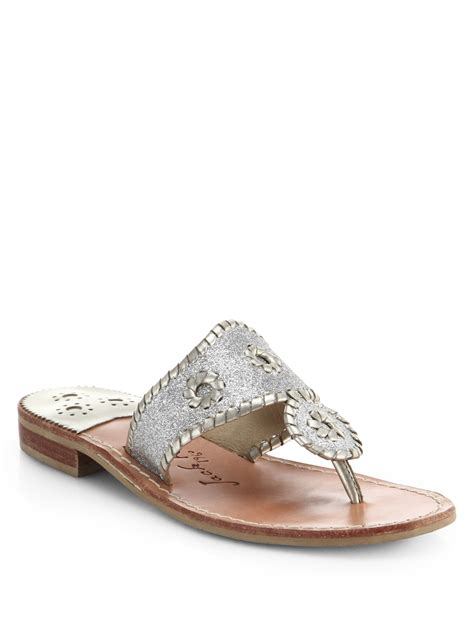 rogers sandals silver rogers sparkle leather sandals in metallic lyst