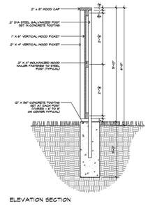 modern fence detail elevation section architecture