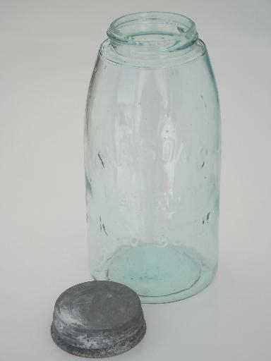 antique blue glass mason jar  zinc lid  qt fruit jar   patent date