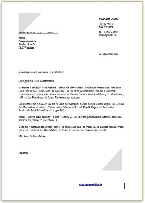 Offizieller Brief Englisch Beispiel Bewerbung Praktikum Sch 252 Ler Vorlage Muster Beispiel