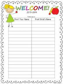 Back To School Sign In Sheet Template by The Bender Bunch Science Finds Open House Sign In