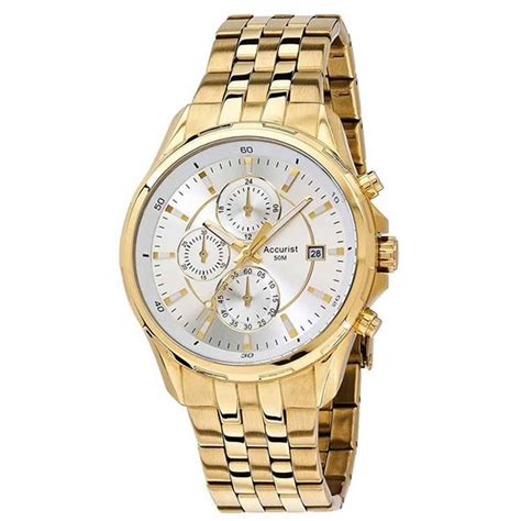 accurist s gold plated chronograph bracelet
