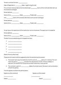 tenancy agreement contract template tenancy contract exle contract templates