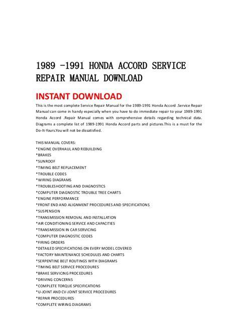 how to download repair manuals 2011 honda accord crosstour electronic toll collection 1989 1991 honda accord service repair manual download