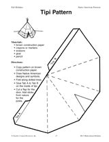 teepee craft template tipi pattern printable k 2nd grade teachervision