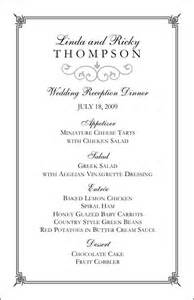 dinner menu template for home wedding menu templates create wedding menus at home