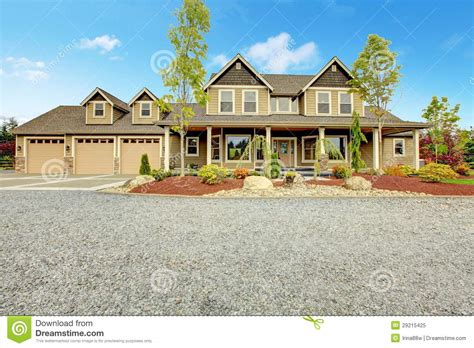 large country homes large farm country house with gravel driveway and green landscape stock image image 29215425
