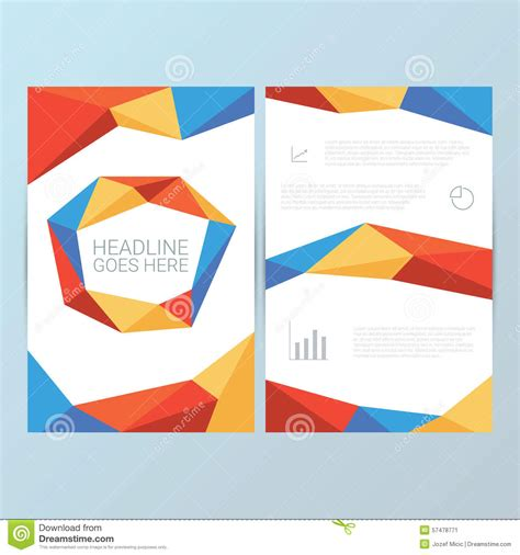 geometric pattern analysis report cover vector template low poly geometric stock