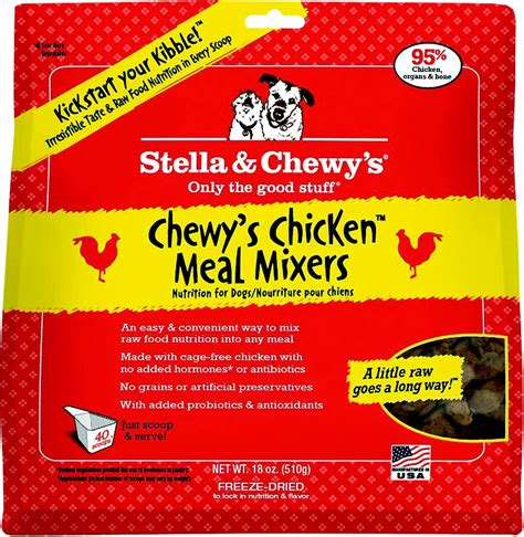 chewy puppy food stella chewy s chewy s chicken meal mixers grain free freeze dried food 18 oz