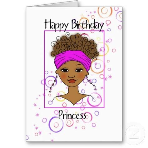 Black Birthday Card Happy Birthday Princess Card American Birthdays