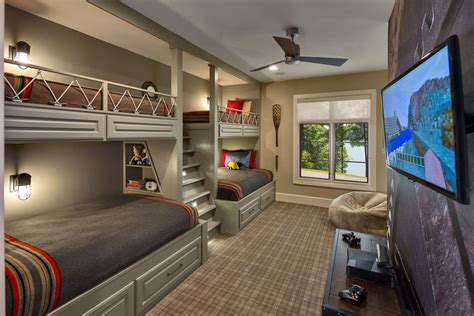 Room With Bunk Beds Bunk Bed With Stairs Rustic With Built In Storage Bunk Beds Ceiling Fan Gray