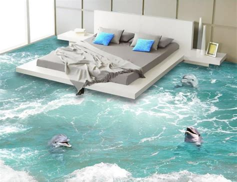 Beach floor murals in wall stickers dolphin PVC Wall paper