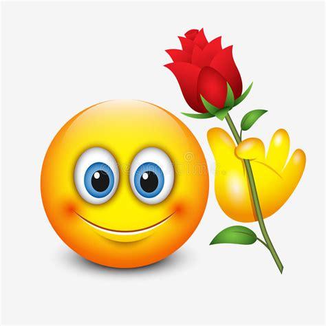 emoji rose cute emoticon holding red rose saint valentine s day