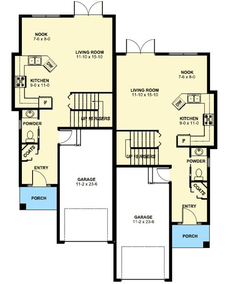 floor plan of a duplex duplex house plan for the small narrow lot 67718mg 2nd